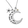 ketting to the moon and back geboortesteen zilver