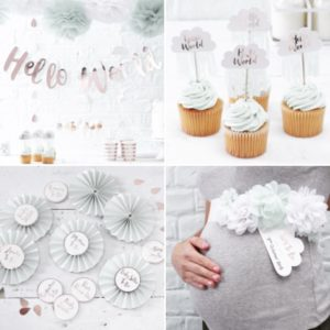 babyshower decoratie hello world baby cupcake slinger